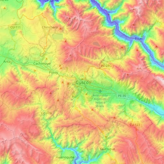 Carte topographique Cusco, carte du relief, carte des altitudes