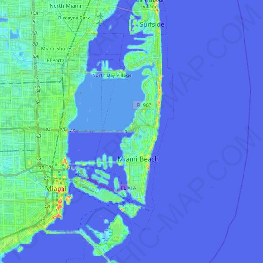 Carte topographique Miami Beach, carte du relief, carte des altitudes